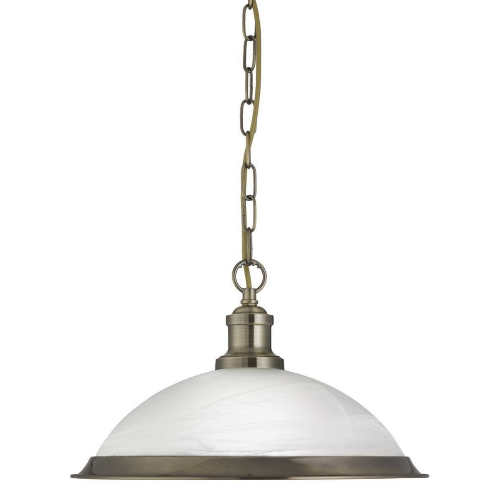 Bistro 1 Light Industrial Pendant Antique Brass, Marble Glass Shade, Antique Brass Trim 1591Ab